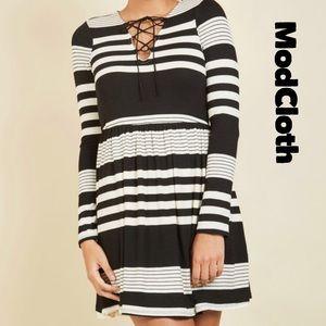 Modcloth Fervour Coffee Shop Reading striped dress